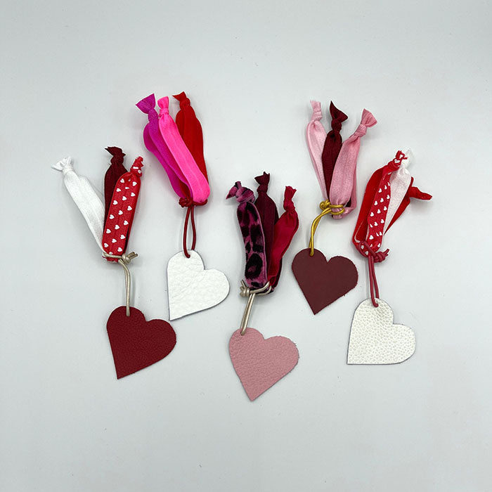 Hair Ties with Pink Leather Heart/Silver Leather Cording