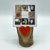 Heart Collage & Oak Stand w/ Upcycled Josephine Ski Heart