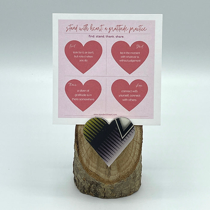 Gratitude Print (pink) & Oak Stand w/ Upcycled Michelle Ski Heart