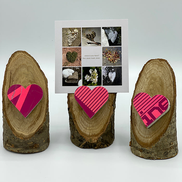 Heart Collage & Oak Stand w/ Upcycled Sarah Ski Heart