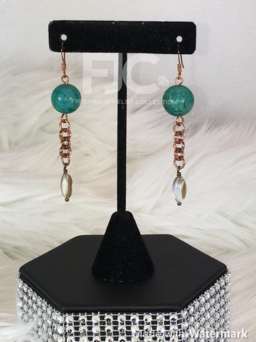Copper Teal Earrings