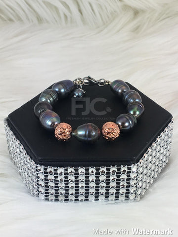 Copper and Peacock Pearl Bracelet