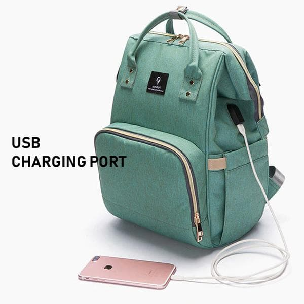 MaxMomma Green Bag Usb Charging Port