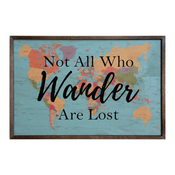 12x18 Not All Who Wander Are Lost Wood Map