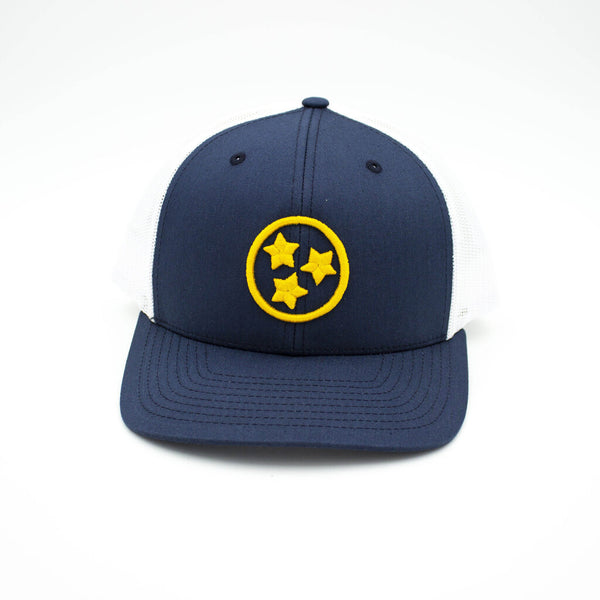 Tristar Trucker Hat - Navy/Yellow