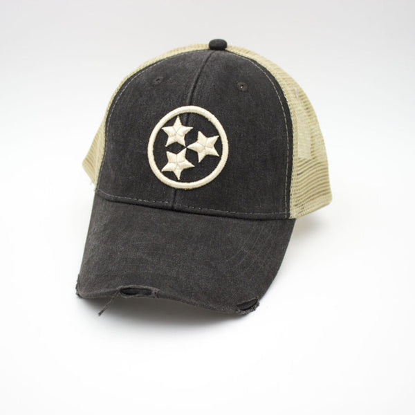 Tristar Distressed Trucker Hat - Black