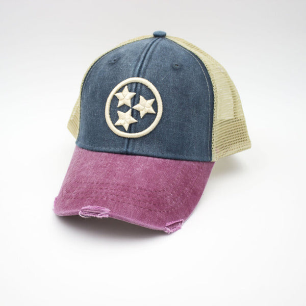 Tristar Distressed Trucker Hat - Tricolor