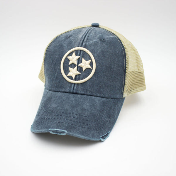 Tristar Distressed Trucker Hat - Navy