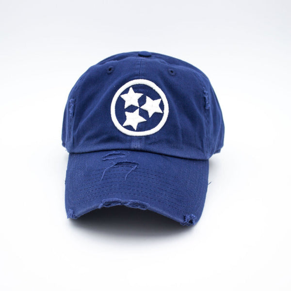Tristar Distressed Hat - Navy