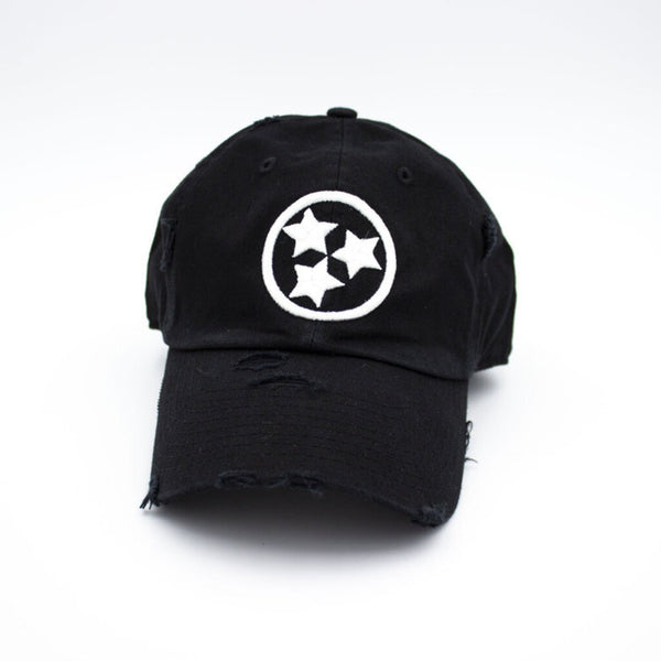 Tristar Distressed Hat - Black