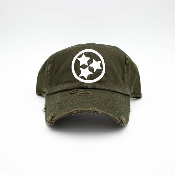 Tristar Distressed Hat - Green