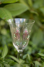 Limited Edition Dusty Rose Fairy Wing Silver earrings