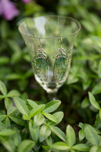 Load image into Gallery viewer, Green Alseid Fairy Wing earrings silver or brass