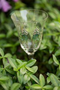 Green Alseid Fairy Wing earrings silver or brass
