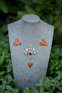 Autumn Art Nouveau Necklace silver Custom