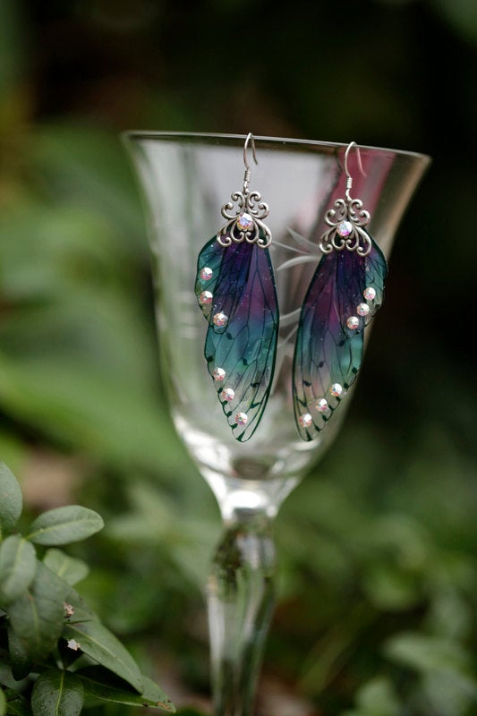 Nymph Fairy Wing earrings brass or silver