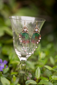 Nelkie Fairy Wing earrings brass or silver