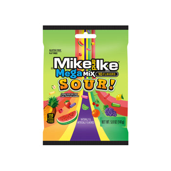 Mike & Ike Mega Mix Sour Peg Bag 141g