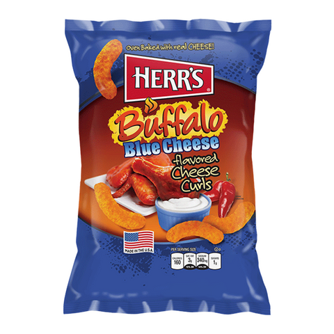 Herr's Cheese Curls - Buffalo Blue Cheese Flavour Puffs - 7oz (199g)