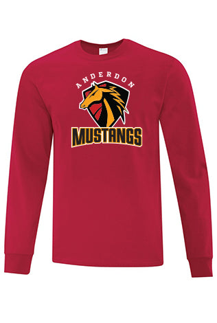 Cotton Long Sleeve Shirt - Mustangs - Youth