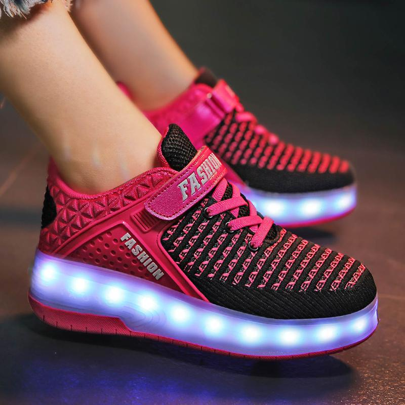 Light Up Roller Shoes Wheeled LED Skate Sneakers for Kids Skates Shoes Retractable  Wheels - SIKAINI