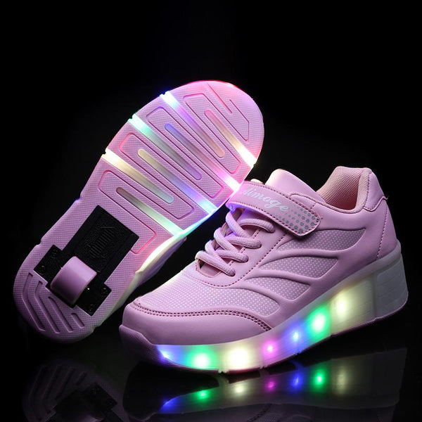 Single Wheel Light Up Roller Shoes Girls Boys Roller Skates Outdoor Sneaker for Kids Shoes with Wheel - SIKAINI