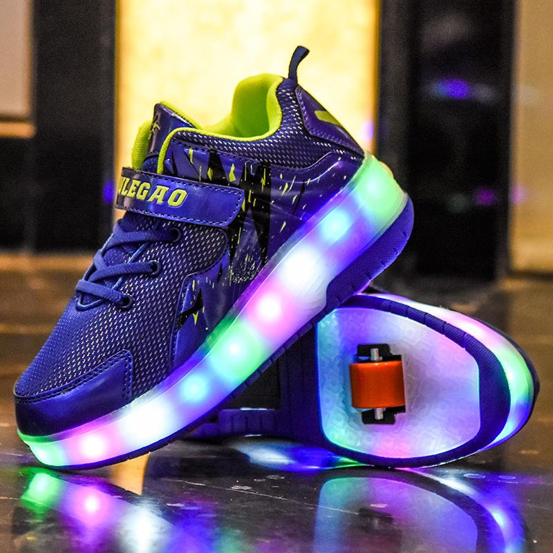 Roller Skates Shoes Girls Boys Wheel Shoes Kids Wheel Sneakers Roller Sneakers Shoes with Wheels - SIKAINI
