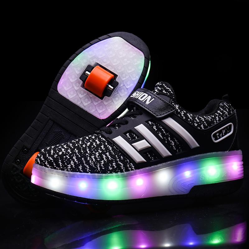 Light Up Roller Skate Shoes Kids LED Roller Shoes Double Wheel Shoes for Boys Girls - SIKAINI