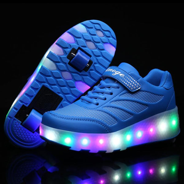 Kids Double Wheels Shoes with Lights Roller Skates Shoes Retractable Wheels Shoes LED Flashing Sneakers for Unisex Girls Boys - SIKAINI