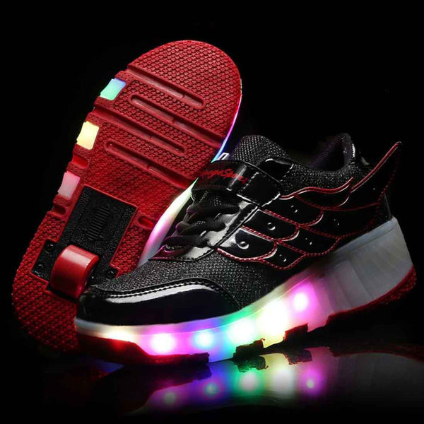 Roller Skates Shoes Girls Boys LED Roller Shoes for Kids Comfortable Mesh Surface Roller Shoes - SIKAINI