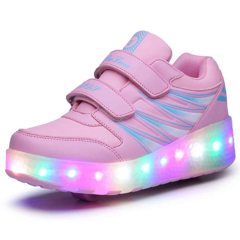 Fashion LED Light Up Roller Skates Shoes Girls Boys Double Wheels Roller Sneakers for Kids - SIKAINI