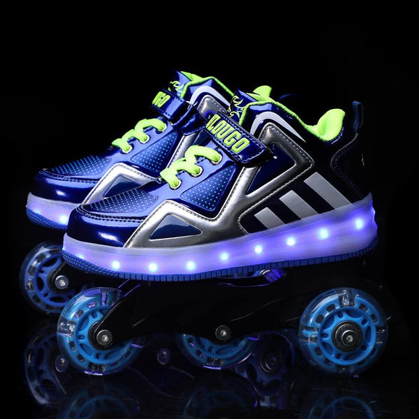 Kids Roller Skates Shoes Rechargable LED Light Up Skates Shoes - SIKAINI