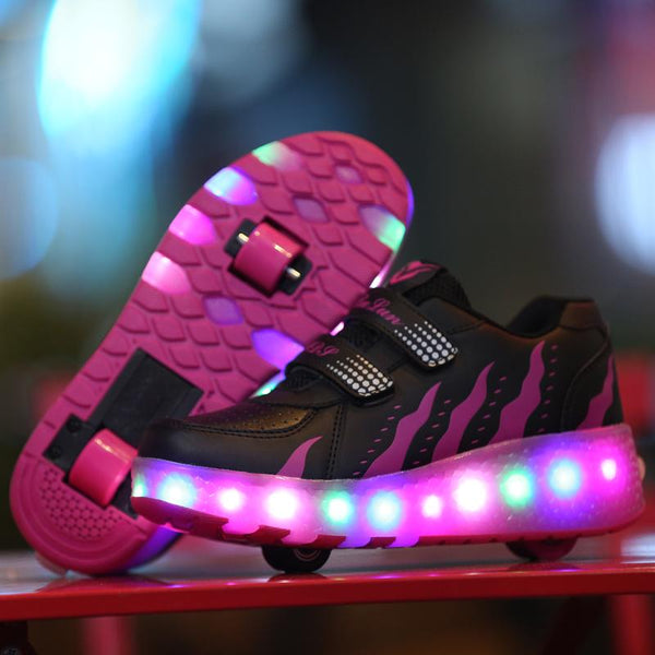 Kids Roller Skates Shoes Girls Boys Roller Shoes Wheel Shoes Roller Sneakers Shoes with Wheels LED - SIKAINI