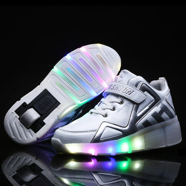 Boys Girls Light up Roller Shoes Wheels Sneaker Kids Skate Shoes with Single Wheel Shoes Sport Sneaker - SIKAINI