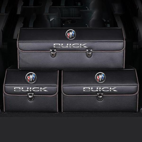 Buy 2  Free Shipping---[Hot sale!!!]Universal Car LOGO Leather Trunk Organizer Box—Black
