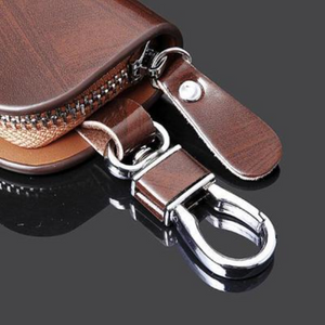 (Factory Outlet 50% OFF!!!)Car Logo Leather Wood Texture Car Key Case