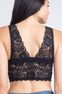 Black Scalloped Lace Bralette
