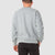Back model shot of men's globel sweater in gray