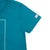 Detail shot of the Women's Short Sleeve Climber Tee in teal showing Topo Designs logo on sleeve