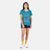 Full front model shot of the Women's Short Sleeve Climber Tee in teal