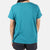 Close-up back model shot of the Women's Short Sleeve Climber Tee in teal