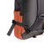 3/4 Back Detail Shot of the Topo Designs Rover Pack Classic in Black/Clay showing collapsible water bottle pockets on side