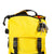 Top detail shot of the Topo Designs Rover Pack Mini in Yellow showing top zipper pocket and internal key clip.