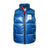 Full front product shot of women's big puffer vest in blue
