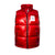 Full front product shot of women's big puffer vest in red