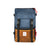 Front Product Shot of the Topo Designs Rover Pack Heritage Made in the USA Backpack in Navy/Brown Leather