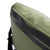 Detail product shot of messenger bag in olive showing reinforced top carry handle