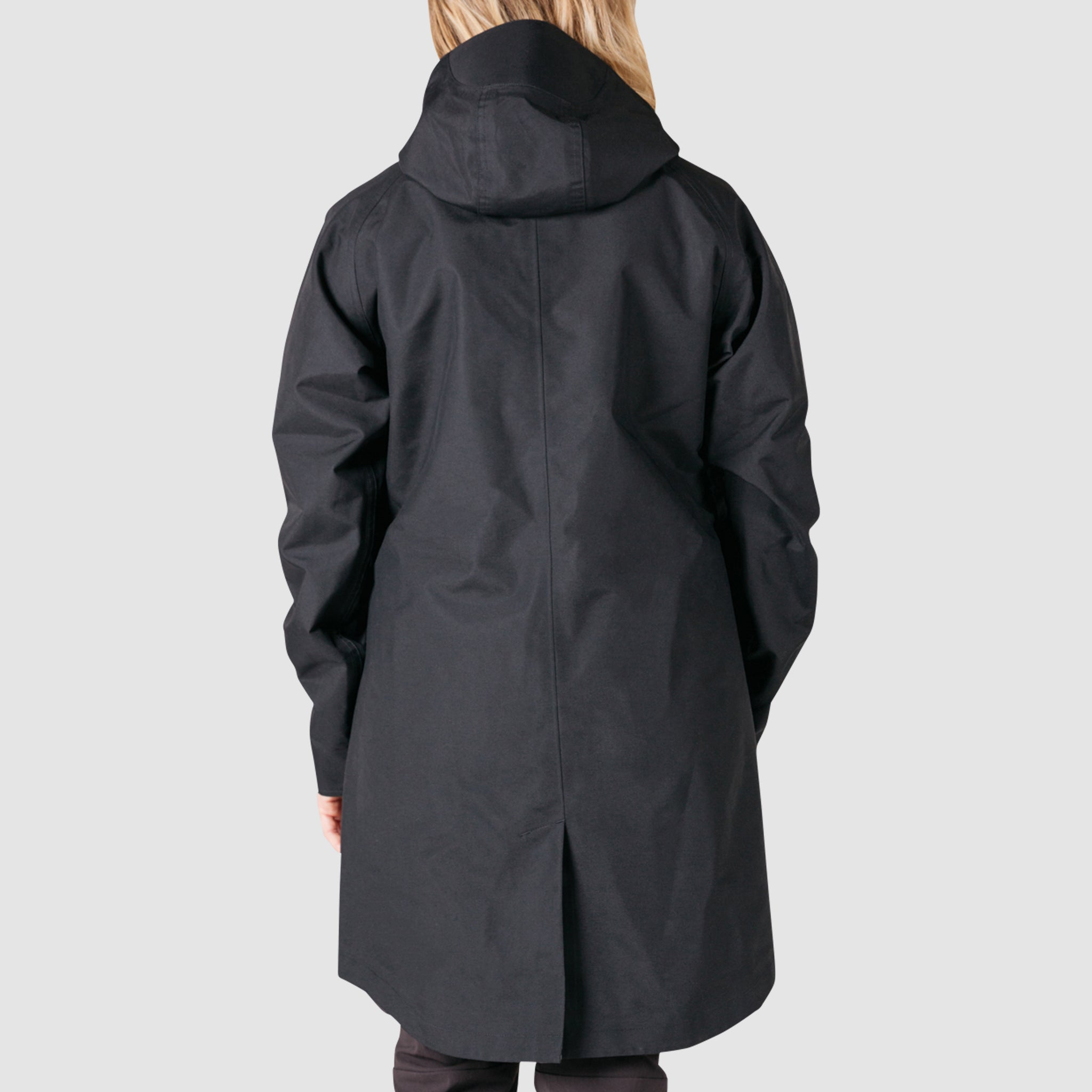 Womens Black Leather Hooded Parker Jacket Multi-Pocket Trench Coat