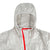 Front detail shot of hood and zipper of Topo Designs Ultralight Jacket - Lightweight Packable Travel Jacket for Women in Silver