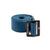 Product shot of Topo Designs web belt in blue with black buckle